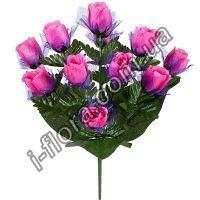 у1059 Букет атласных  роз с фатином 51см      6шт