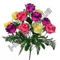 4041 Букет розы тройной микс  57см  5шт