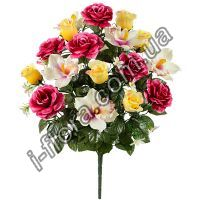 370 Букет орхидеи+розы+бутоны 58см   5шт