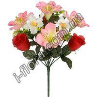 у395   Композиция лилии, орхидеи, розы   33см    24см