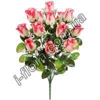 у397 Букет роза бутон кашка 54см   10шт