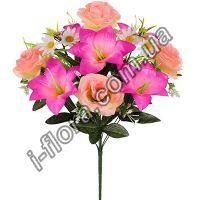 у6043 Букет лилии, розы и ромашки 52см   10шт