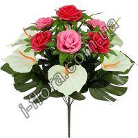 у6048 Букет розы и каллы 55см  5шт