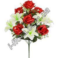 у6061  Букет роза  с лилией   57см   6шт