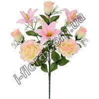 у7060 Букет розы и лилии 54см  10шт