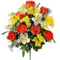у9001 Композиция пионы с геранью и орхидеи 61см   5шт
