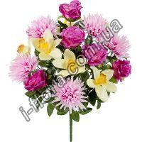 у9005 Букет композиция розы,хризантемы и орхидеи 60см    5шт