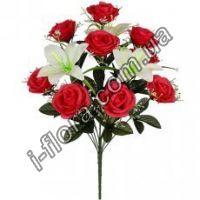 у6060 Композиция роз и лилий   55см  6шт
