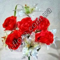 S-ML554 Букет роз с вуалью и лилий  50см    10шт