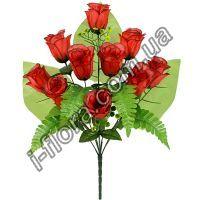 у-048 Букет односторонний розы с папоротником    53см   10шт